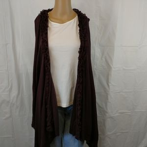 Sweater works open front cardigan large purple